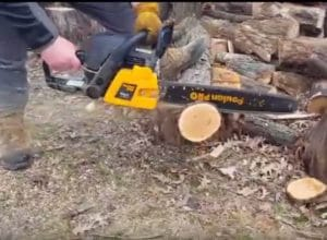 Poulan Pro PP5020AV chainsaw in action
