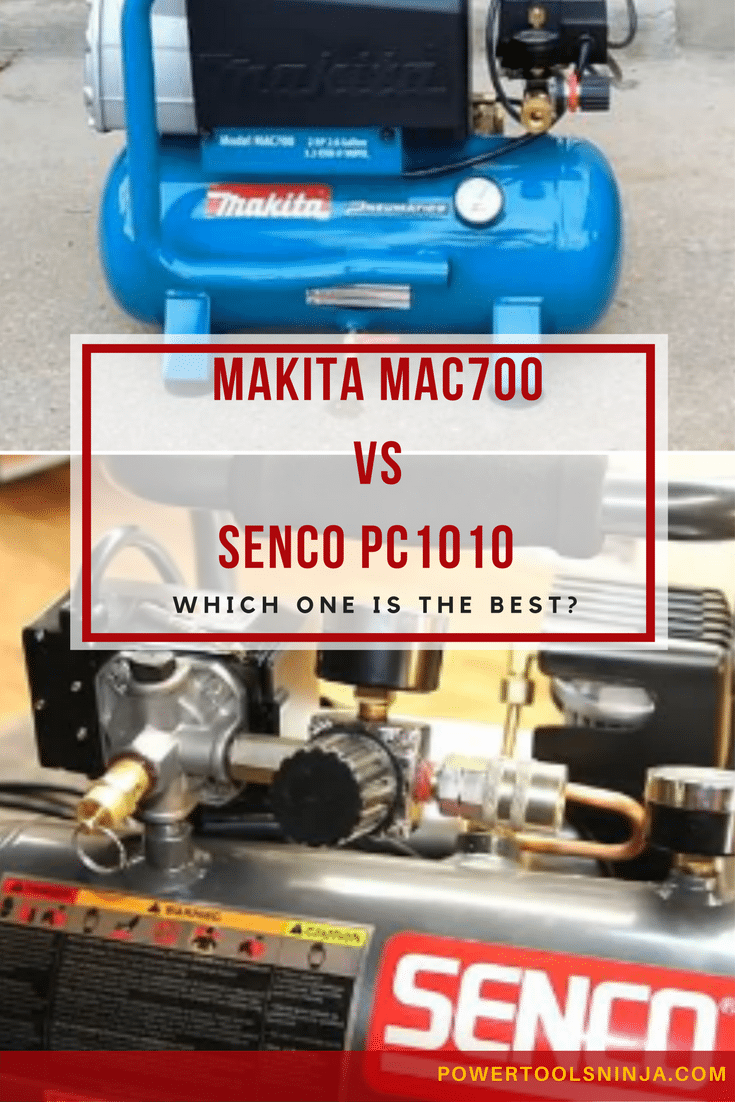 They look similar, but these two air compressor units are significantly different, one difference being that one is oil-filled while the other is oil-less (or oil-free). Read my Senco PC1010 vs Makita Mac700 showdown now.