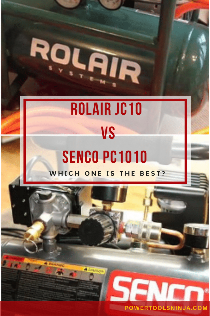 Here are two air compressors that are similar but differ in price. Check out my Senco PC1010 vs Rolair JC10 showdown before you buy.
