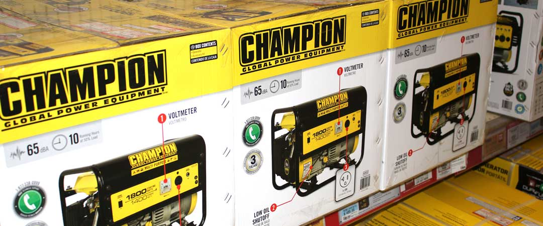 Champion Generators on the Shelf at Home Depot