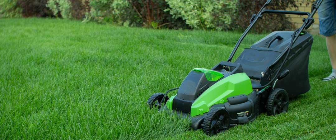 Green electric lawn mower