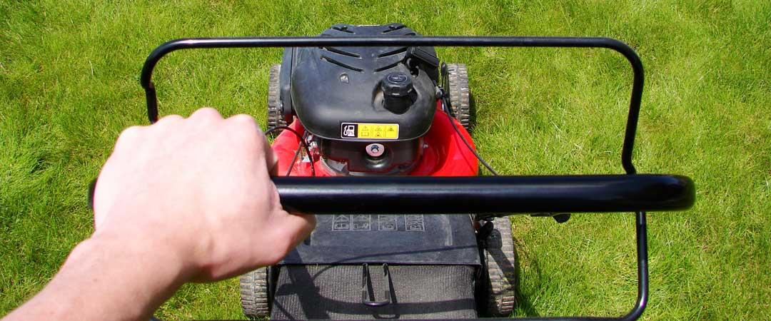 Mowing lawn with a Troy Bilt Lawn Mower