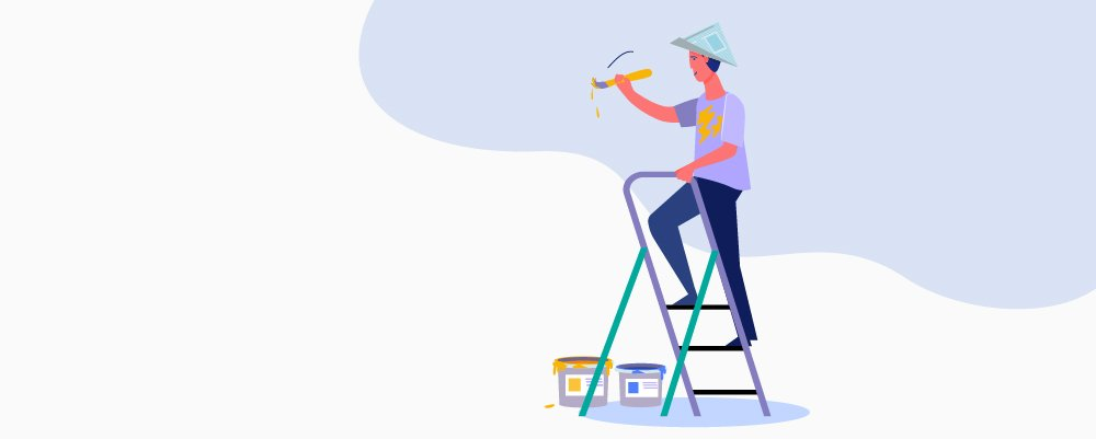 Drawing of a man on a ladder painting