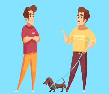Two men a dog talking drawing
