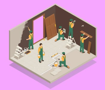 Workers in a house drawing