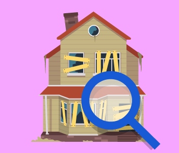 Boarded up house with magnifying glass drawing