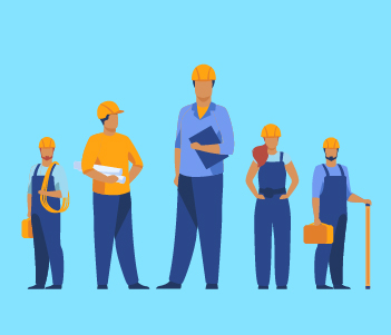 Group of contractors Drawing