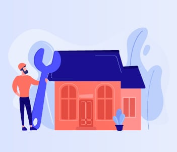 Man with a wrench outside a house drawing