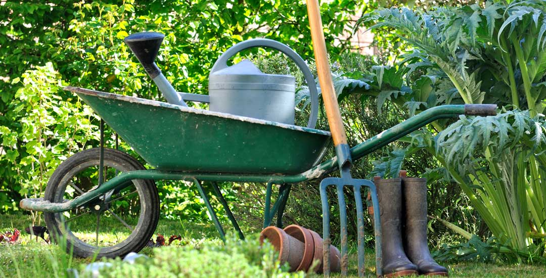 Wheel barrow, pitch fork, and watering can