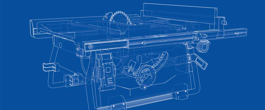 Blue print of a portable table saw